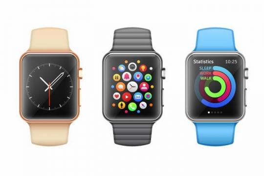 3种颜色表带的苹果智能手表iWatch png图片免抠矢量素材