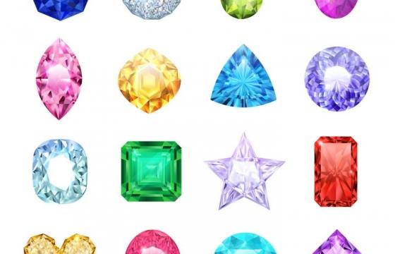 16款各种颜色和造型的水晶宝石图片免抠素材