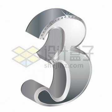 3D金属银色镶钻立体数字3png图片素材