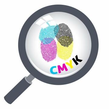 放大镜下面的CMYK颜色的指纹图案png图片免抠eps矢量素材