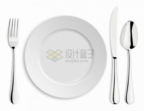 白色盘子和金属光泽的刀叉勺子西餐餐具png图片免抠矢量素材
