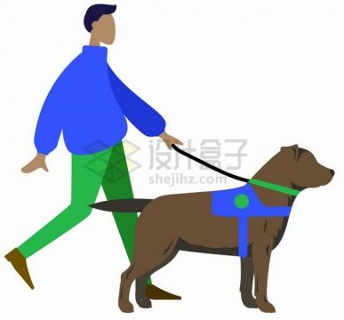 扁平化盲人牵着导盲犬png图片素材