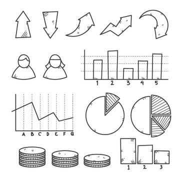 手绘黑色线条风格箭头饼形图柱形图等PPT元素图片免抠矢量素材