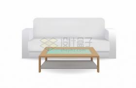 灰白色的沙发和玻璃茶几客厅家具300472png矢量图片素材