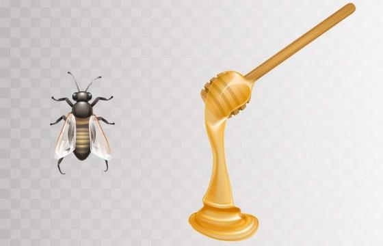 逼真的蜜蜂和蜂蜜棒上粘稠的蜂蜜免抠矢量图片素材