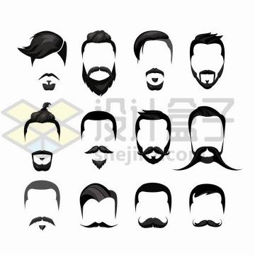 12款男士胡须和发型造型png图片免抠矢量素材