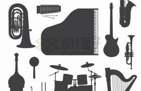 小提琴钢琴吉他大号中号萨克斯架子鼓竖琴等西洋乐器剪影png图片素材