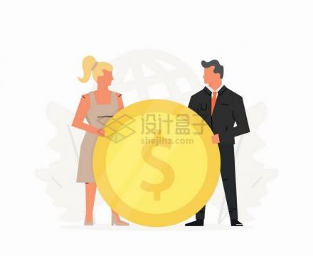 两个商务人士拿着一个大大的金币象征了共享销售冠军扁平插画png图片免抠矢量素材