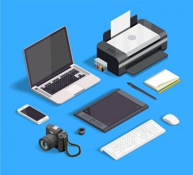 2.5D风格笔记本电脑手机绘图板打印机键盘鼠标照相机等设计师用品png图片免抠eps矢量素材