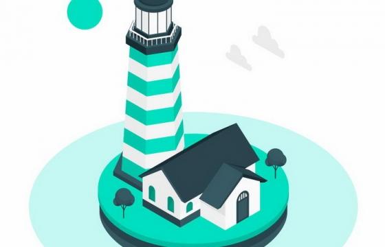 2.5D风格绿色的灯塔和房子png图片免抠矢量素材