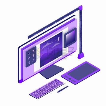 2.5D风格紫色电脑显示器键盘和画图板png图片免抠矢量素材
