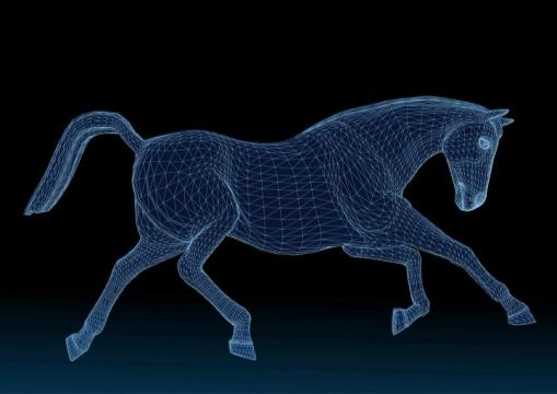 蓝色线条网格骏马图片免抠矢量素材
