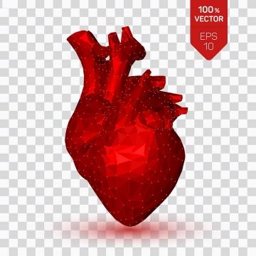 创意点线红色三角形组成的心脏人体组织器官图片免抠素材