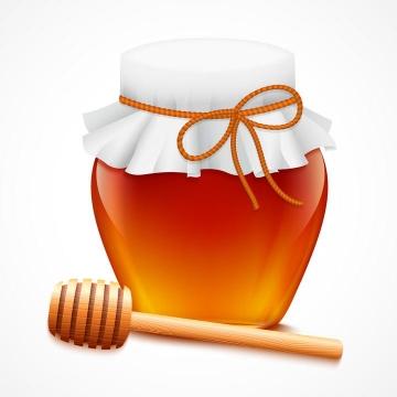 密封好了玻璃蜂蜜罐和蜂蜜棒免抠矢量图片素材