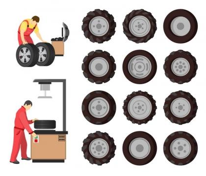 各种汽车卡车拖拉机轮胎和换轮胎的汽修工人png图片免抠矢量素材
