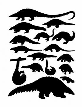 各种穿山甲食蚁兽野生动物剪影png图片免抠矢量素材