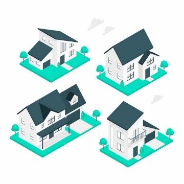 4款2.5D风格的房子和别墅建筑png图片免抠矢量素材