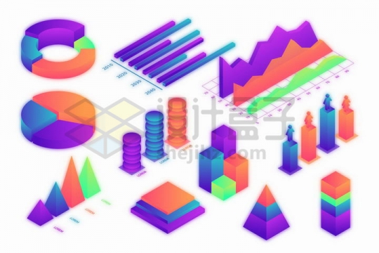 彩色发光2.5D风格饼形图柱形图折线图金字塔形等立体PPT数据图表png图片免抠矢量素材