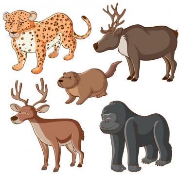 卡通花豹麋鹿河狸和大猩猩等野生动物图片免抠矢量图素材