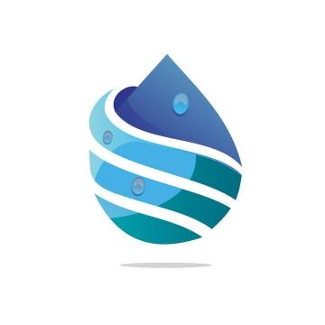 创意蓝色水滴logo设计方案图片免抠矢量素材