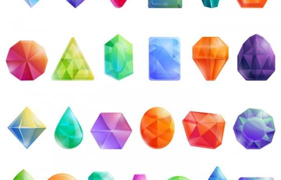 24款卡通漫画风格的彩色水晶宝石晶体图片免抠矢量素材