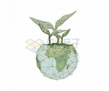 绿色多边形组成的地球上的发芽392029png图片素材