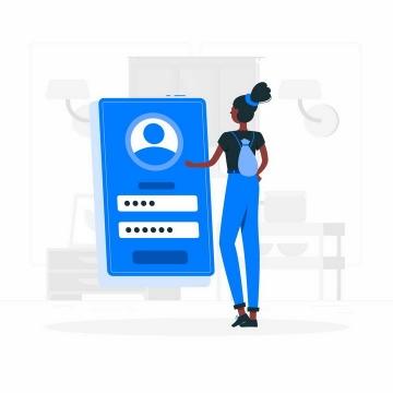 扁平插画风格正在输入账户密码等个人信息的女孩png图片免抠矢量素材