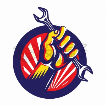 五一劳动节拳头手拿扳手手绘插画png图片素材