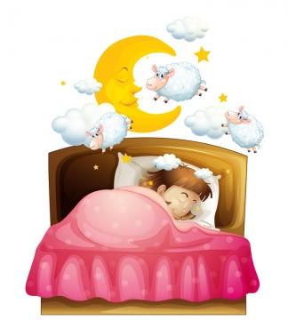在床上睡觉的卡通小女孩数着绵羊图片免抠矢量图素材