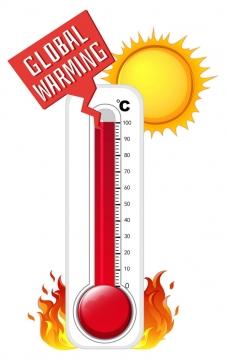卡通风格夏日太阳高温温度计图片免抠矢量素材