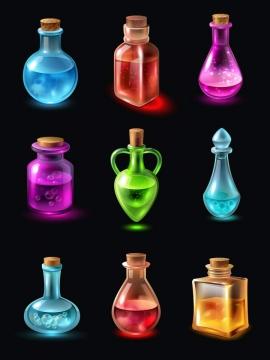 九款逼真的彩色发光药水瓶试剂瓶图片免抠素材