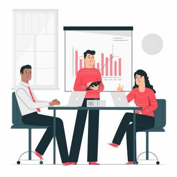 扁平插画风格公司员工正在为同事和领导分析数据png图片免抠矢量素材
