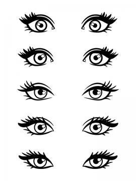 5款手绘线条风格的眼睛图案图片免抠矢量素材