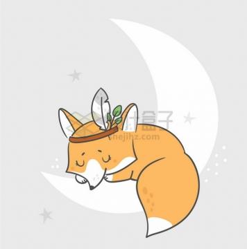 卡通小狐狸趴在弯弯的月亮上睡觉童话故事儿童插画png图片免抠矢量素材