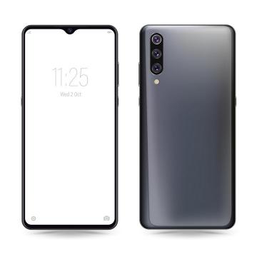 华为P20 pro智能手机正面和背面图png图片免抠矢量素材