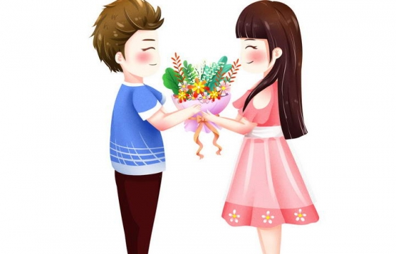 可爱卡通正在送花的情侣情人节图片免抠素材