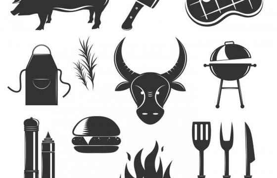 猪肉牛肉牛排刀叉等西餐剪影图片免抠素材