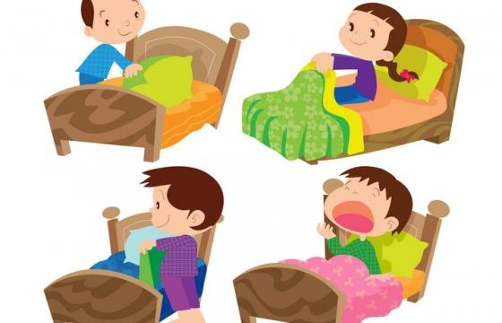 4款早上好起床叠被子的卡通小孩图片免抠素材