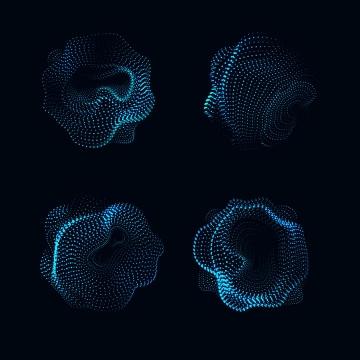 4款天蓝色光点组成的形状图片免抠矢量图素材