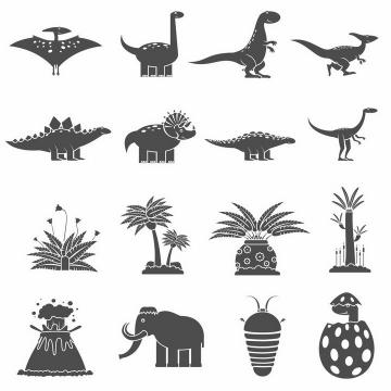 16款黑白画风格卡通翼龙恐龙火山喷发大象等自然景观png图片免抠矢量素材