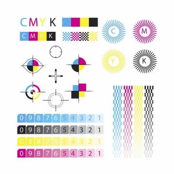 彩色印刷四色模式CMYK色值卡校准颜色png图片免抠eps矢量素材