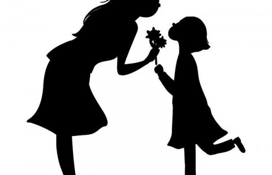 女儿给妈妈鲜花母亲节母女剪影图片免抠素材