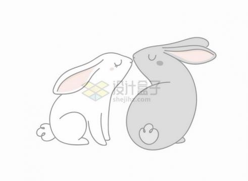 正在亲吻对方的卡通小白兔小灰兔童话故事儿童插画png图片免抠矢量素材