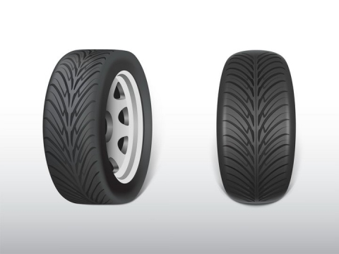 两种正面视角的汽车轮胎png图片免抠矢量素材