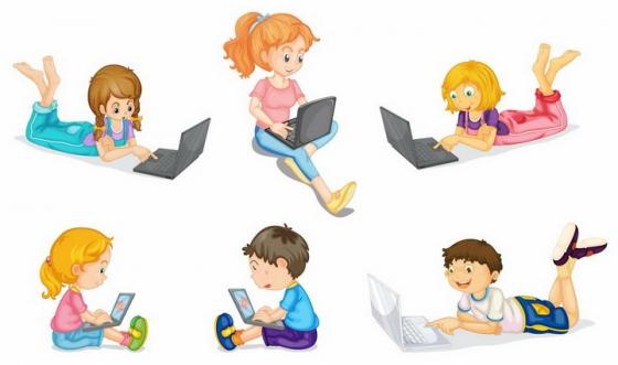 6款趴在地上使用笔记本电脑的卡通小孩png图片免抠矢量素材