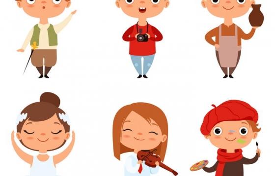6个有各种兴趣爱好的卡通小朋友图片免抠矢量素材