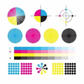 各种彩色CMYK色值卡校准颜色png图片免抠eps矢量素材