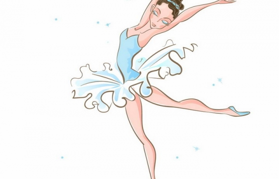 手绘风格正在跳芭蕾舞的卡通美女png图片免抠矢量素材