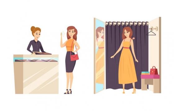 正在商场购买衣服试衣间的卡通美女图片免抠矢量素材