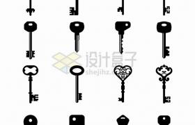 16款复古花纹的钥匙剪影png图片素材